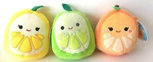 """Squishmallow Plush Doll Orange Celia Lime Leeland Lemon Leticia 5"""" KellyToy 3pc"""