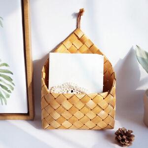 NE_ Wall-mounted Wooden Hand-woven Fruit Vegetable Weaving Storage Holder Basket