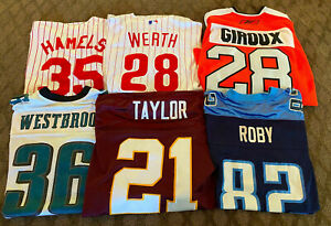 LOT OF (6) SPORTS JERSEYS AUTHENTIC WERTH PHILLIES GIROUX SEAN TAYLOR ROBY 52 XL
