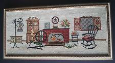 "Vintage Needlepoint 23"" x 12"" Antique Fireplace Den Scene Wood Frame Pixel 8Bit"