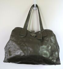 COACH Rare Kiss~Lock Gray Patent Leather Logo Carryall Purse Handbag