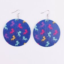 Flamingo Lilly Pulitzer Paisley Prints on Wood Disc Drops Earrings Unique Gift