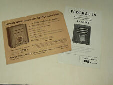 Lot 2 Prospectus TSF RADIO Federal Power Tone Poste brochure  prospekt old paper