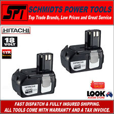 HITACHI 2x BCL1840 18V 4.0Ah GENUINE LI-ION BATTERIES REPLACES EBM1830 PUSH IN