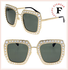 9f56d9738d9ee GUCCI HOLLYWOOD FOREVER 0115 Gold Green Crystal Oversized Sunglasses GG0115S