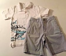 Boy's GAP Outfit Blue PINSTRIPED Bermuda SHORTS & White SHARK Polo Shirt 6 7 S