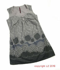 L168/10 Double One Arty Bohemian Cotton Floral Grey French Dress, UK 12 Euro 40