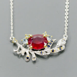 """Fashion Art SET Ruby Necklace 925 Sterling Silver  Length 18.5""""/N06229"""