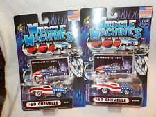 Muscle Machines Star & Stripes lot x2 69 Chevy Chevelle bin(ad7)