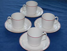 Georges Boyer French Limoges 4 cups & saucers white with red trim & verge