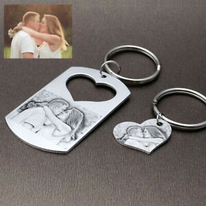 Personalised Photo Keychain Any Picture Keyring Couple Key Chain Christmas Gift