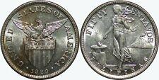1920-(M) US/Philippines 50 Centavos ~ AU ~ 75% Silver ~ Allen#14.09 ~ MX179