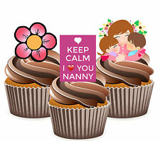 Keep Calm I Love You Nanny Mix -12 Edible Cup Cake Toppers Mother's Day Birthday