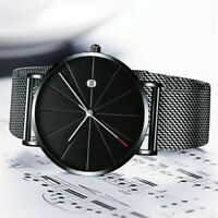 Trendy Men Ultra Thin Minimalist Watch Slim Steel Strap Stainless Steel Quartz C