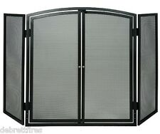 Fire Spark Guard Screen 3 Panel Fold c/w Opening Doors 4 Stove Coal by De Vielle