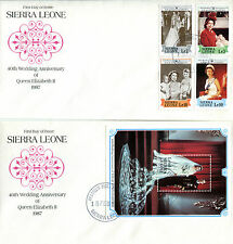 SIERRA LEONE 1987/8 QUEEN 40th WEDDING ANNIVERSARY PAIR OF FIRST DAY COVERS