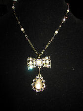 BETSEY JOHNSON TZARINA BOW WITH PURPLE STONES NECKLACE