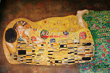 "36x48""100%Hand Painted Oil Flat,Gustav Klimt,The Kiss, High Quality"