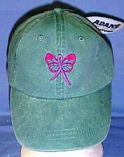Breast Cancer Baseball Hat Awareness Pink Butterfly Ribbon Washed Green New