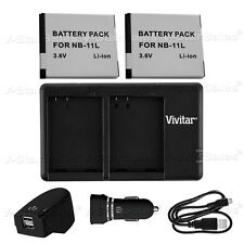 2X NB-11L Replacement Battery & USB Dual Charger + AC/DC for Canon 2300 2400