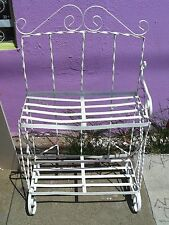Vintage White Plant Stand Planter Wrought Iron Shelf Flower Pots Display, Swirls