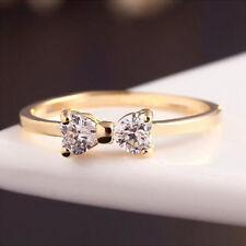 Gold überzogene Ringe mit Schleife Modell aus Kristall Elegant Damen Schmuck