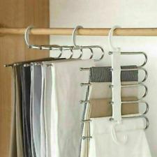 2Pcs 5in1 Multi-function Pants Holder Trousers Hangers Scarf Tie Towels Rack