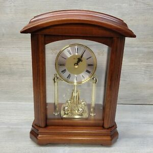 Bulova B1848 Nordale Walnut Finish Wood Mantel Table Clock New Open Box