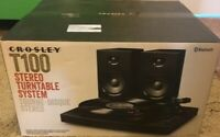 Crosley T100D 2-Speed Bluetooth Turntable System with Stereo Speakers, Black