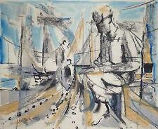 Podevin Jean-Emile pastel et aquarelle signée 1965 Salon des indépendants