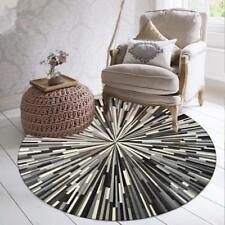 Geometric Striped Rugs Black And White Gray Simple Abstract Pattern Round Carpet