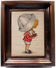 Lynn Santarlasci Signed 1974 Sailor Boy Serigraph Vintage Artwork Copper Frame