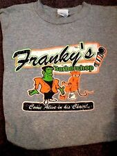 """FRANKY'S BARBERSHOP T SHIRT FRANKENSTEIN MONSTER """"COME ALIVE IN HIS CHAIR"""" LARGE"""