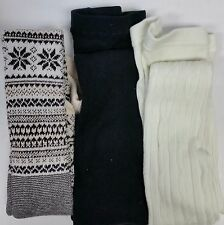 3 pair HUE Sweater Tights -  Fairisle, Flat Knit, Cable - S/M - New $60 - 2175