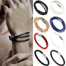Unisex Leather Braided Wristband Bracelet Men Women Steel Magnetic Clasp Bangle