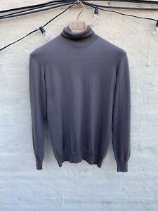 Loro Piana 100% Cashmere Grey Green Turtleneck Mens Luxury Sweater Sz 48/38US