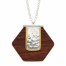 Silpada 'wildwood' Natural Wooden Pendant in Sterling Silver and Brass 30""