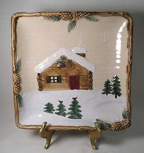 Christmas Serving Tray ST. Nicholas Square Cabin in The Woods Winter Scene Plate