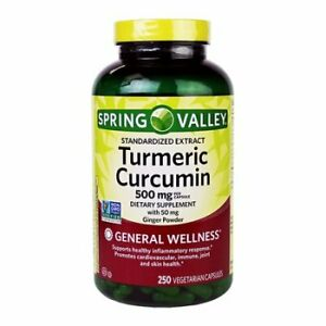 Spring Valley Turmeric Curcumin 500mg with 50 mg Ginger Powder 250 capsules