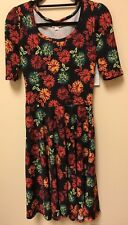 NWT LULAROE NICOLE S, FLORAL RED, ORAGNE, GREEN, ON NAVY BLUE, GORGEOUS!