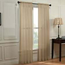 """Sheer Voile 2-Piece Taupe Curtain Panel Solid Window Treatment 63"""" Long New"""