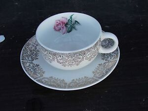 One Vintage Cup & Saucer Iva-Lurs by Crooksville U.S.A, Rose Gold trim; FAST S&H