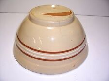 "VINTAGE YELLOW WARE BROWN BAND LARGE MIXING SERVING 11"" BOWL STONEWARE COUNTRY"