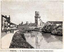 Padova: Bacchiglione e Torre dell'Osservatorio Astronomico. Stampa Antica. 1891