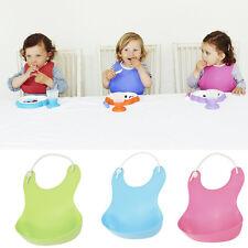 Cute Baby Bibs High Elastic Soft Plastic Bib with Food Catcher Baby Feedin Smtp