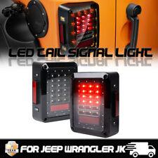 LED Tail Lights Clear Rear Brake Turn Signal Reverse 2007-2017 Jeep Wrangler JK