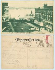 Aerial View Ferry Landing Windsor Ontario Canada 1916 Postcard Buildings Signage