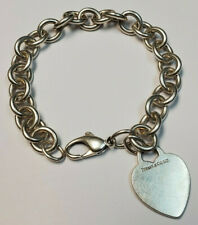 Tiffany & Co. Sterling Silver 925 Charm Bracelet with Heart Tag 7.5 inches