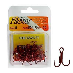 50 x Red Treble Fishing Hooks 501R *ALL SIZES* NEW