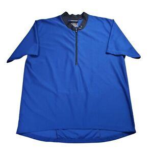 Fox Racing 1/4 Zip Cycling Jersey Mountain Bike Shirt Blue Short Sleeve Mens L